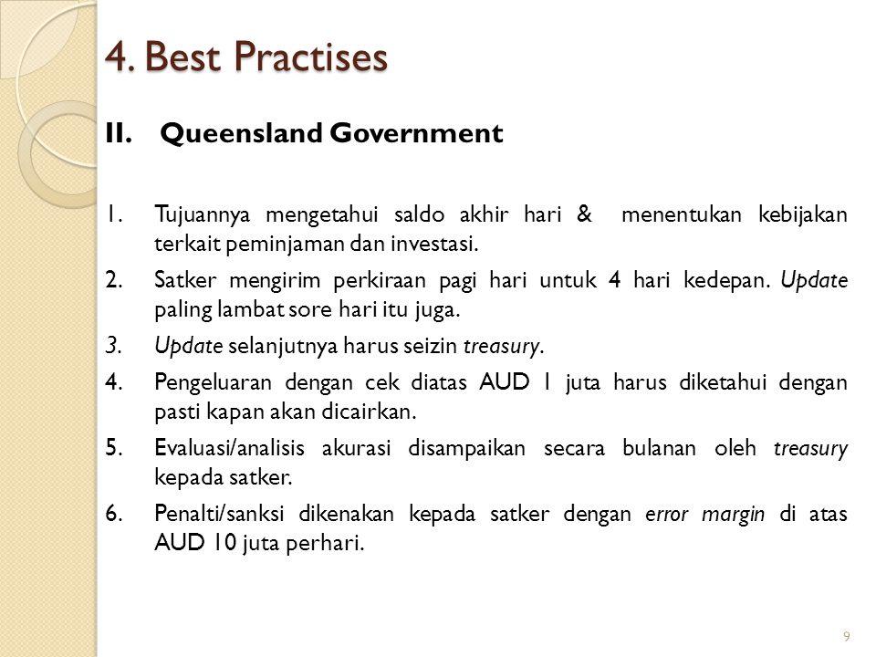 4. Best Practises II.Queensland Government 1.Tujuannya mengetahui saldo akhir hari & menentukan kebijakan terkait peminjaman dan investasi. 2.Satker m
