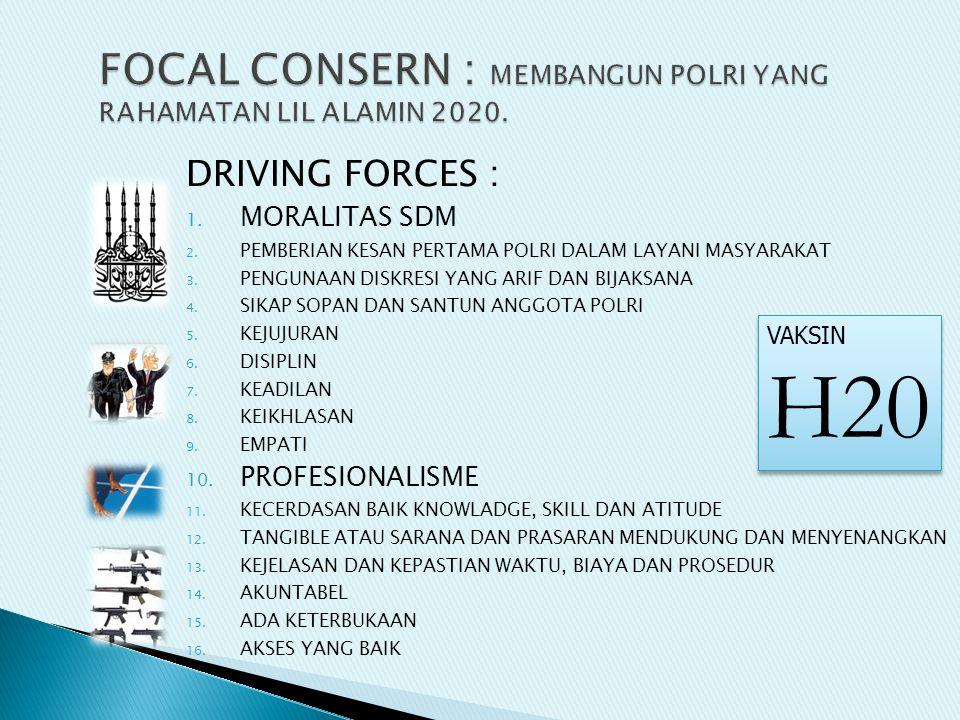 DRIVING FORCES : 1. MORALITAS SDM 2. PEMBERIAN KESAN PERTAMA POLRI DALAM LAYANI MASYARAKAT 3.