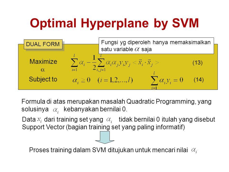 Optimal Hyperplane by SVM Formula di atas merupakan masalah Quadratic Programming, yang solusinya kebanyakan bernilai 0.