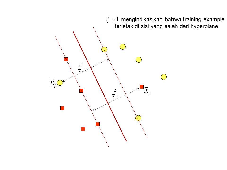 mengindikasikan bahwa training example terletak di sisi yang salah dari hyperplane