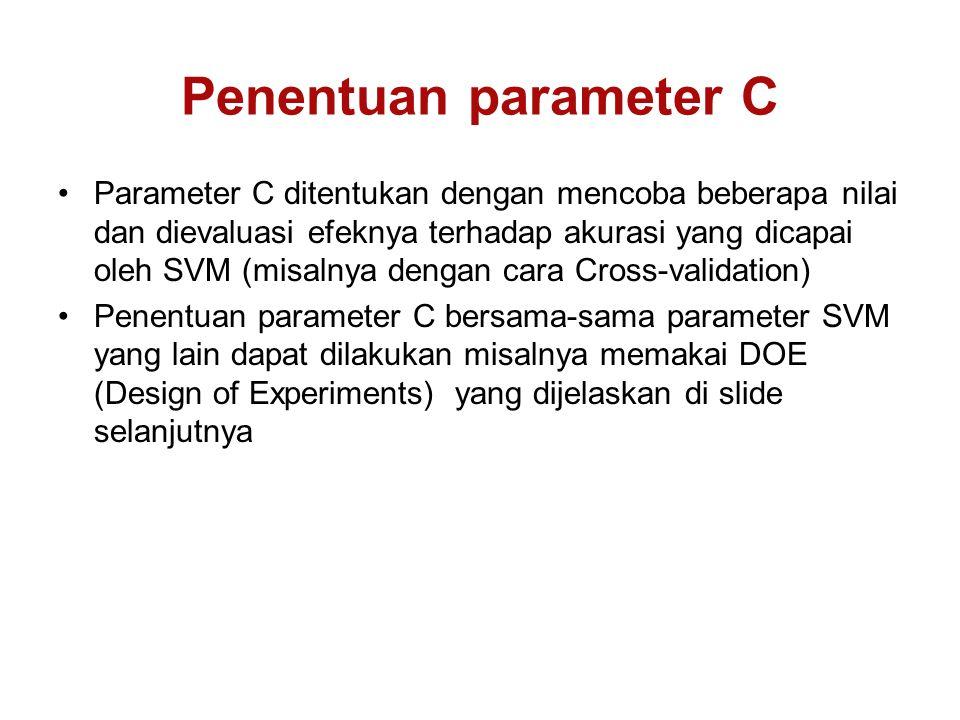 Penentuan parameter C Parameter C ditentukan dengan mencoba beberapa nilai dan dievaluasi efeknya terhadap akurasi yang dicapai oleh SVM (misalnya dengan cara Cross-validation) Penentuan parameter C bersama-sama parameter SVM yang lain dapat dilakukan misalnya memakai DOE (Design of Experiments) yang dijelaskan di slide selanjutnya