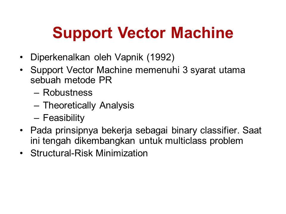 Diperkenalkan oleh Vapnik (1992) Support Vector Machine memenuhi 3 syarat utama sebuah metode PR –Robustness –Theoretically Analysis –Feasibility Pada prinsipnya bekerja sebagai binary classifier.