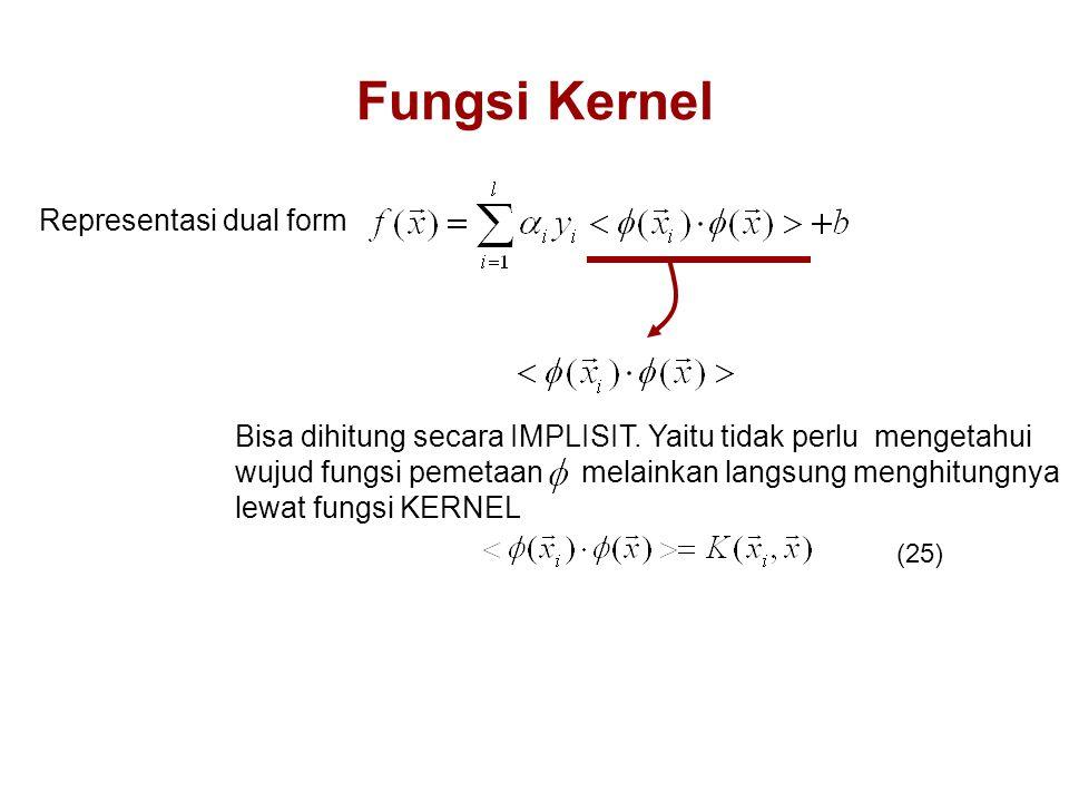 Fungsi Kernel Representasi dual form Bisa dihitung secara IMPLISIT.