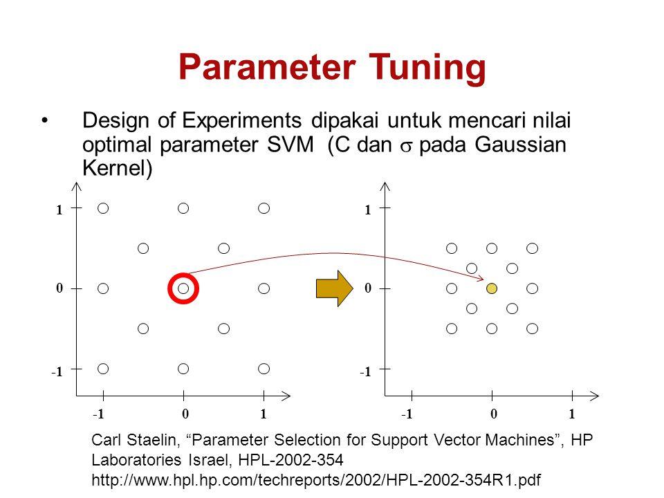 Design of Experiments dipakai untuk mencari nilai optimal parameter SVM (C dan  pada Gaussian Kernel) Parameter Tuning 11 00 1100 Carl Staelin, Parameter Selection for Support Vector Machines , HP Laboratories Israel, HPL-2002-354 http://www.hpl.hp.com/techreports/2002/HPL-2002-354R1.pdf