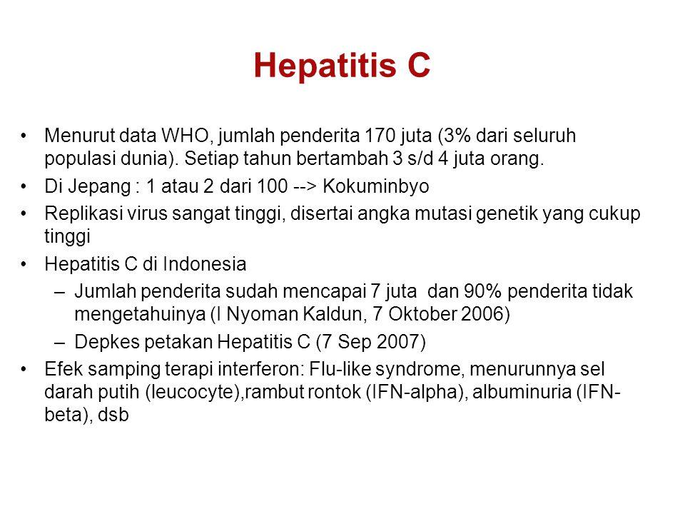 Menurut data WHO, jumlah penderita 170 juta (3% dari seluruh populasi dunia).