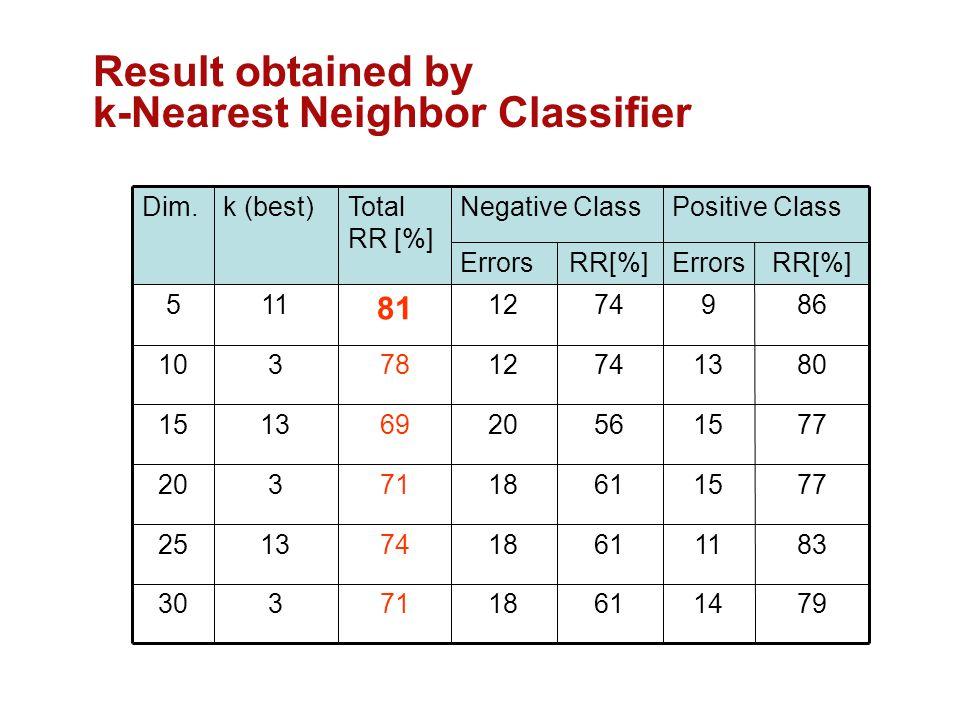 61 56 74 RR[%] Errors 79141871330 831118741325 77151871320 771520691315 80131278310 86912 81 115 Positive ClassNegative ClassTotal RR [%] k (best)Dim.