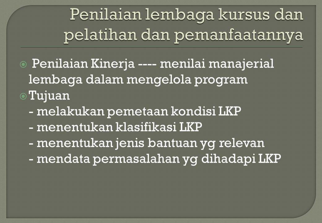  Penilaian Kinerja ---- menilai manajerial lembaga dalam mengelola program  Tujuan - melakukan pemetaan kondisi LKP - menentukan klasifikasi LKP - m