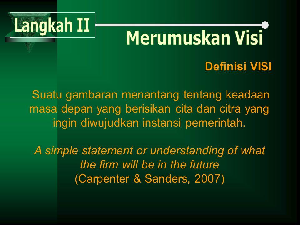 Definisi VISI Suatu gambaran menantang tentang keadaan masa depan yang berisikan cita dan citra yang ingin diwujudkan instansi pemerintah.