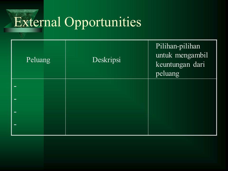 External Opportunities PeluangDeskripsi Pilihan-pilihan untuk mengambil keuntungan dari peluang --------