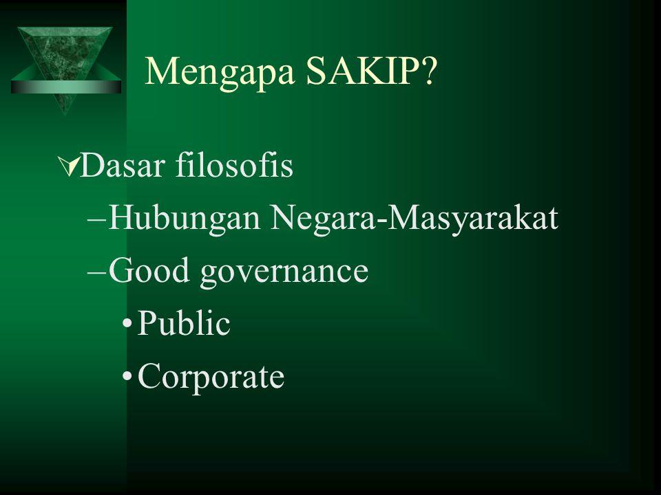 Mengapa SAKIP?  Dasar filosofis –Hubungan Negara-Masyarakat –Good governance Public Corporate