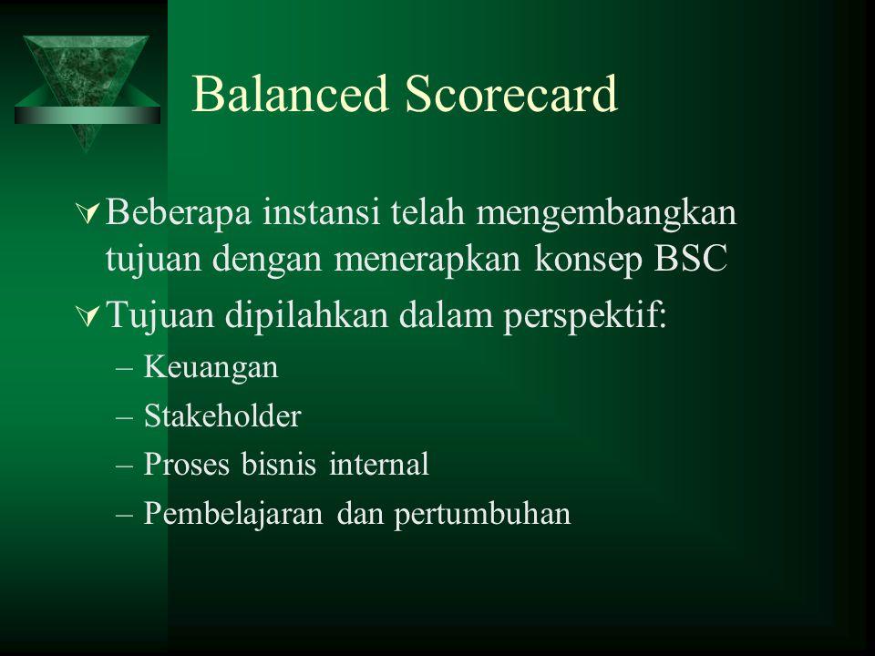 Balanced Scorecard  Beberapa instansi telah mengembangkan tujuan dengan menerapkan konsep BSC  Tujuan dipilahkan dalam perspektif: –Keuangan –Stakeh