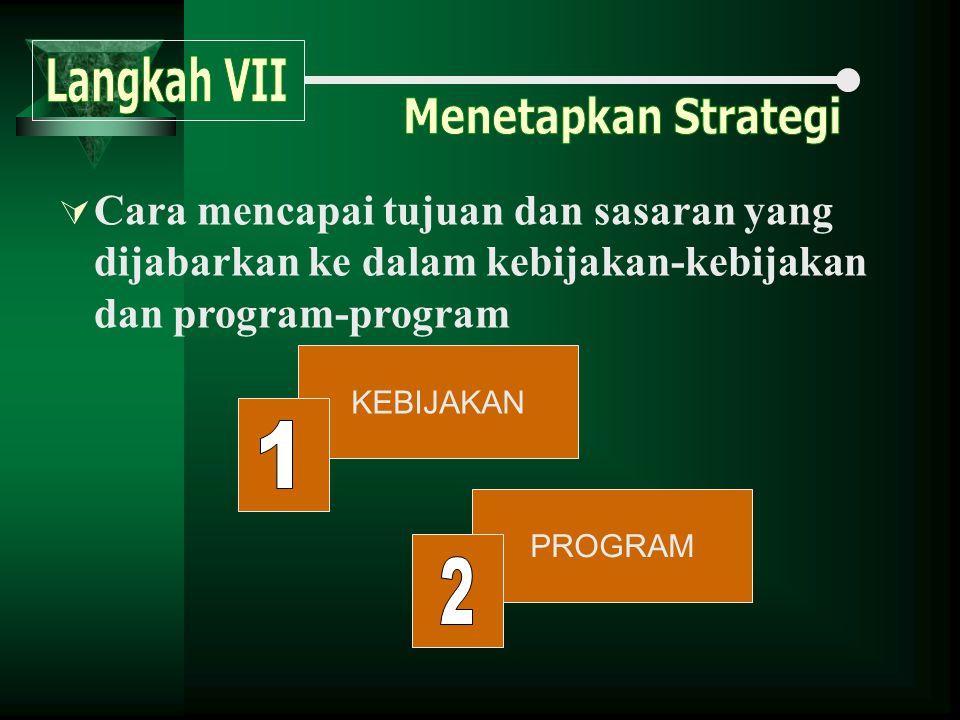 .  Cara mencapai tujuan dan sasaran yang dijabarkan ke dalam kebijakan-kebijakan dan program-program KEBIJAKAN PROGRAM