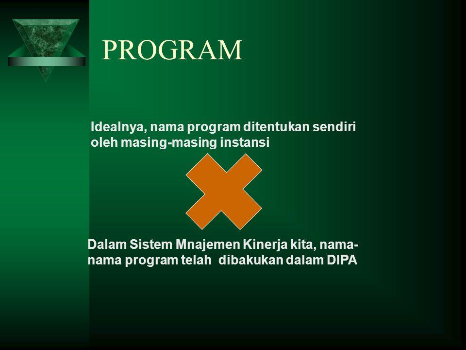 PROGRAM Dalam Sistem Mnajemen Kinerja kita, nama- nama program telah dibakukan dalam DIPA Idealnya, nama program ditentukan sendiri oleh masing-masing