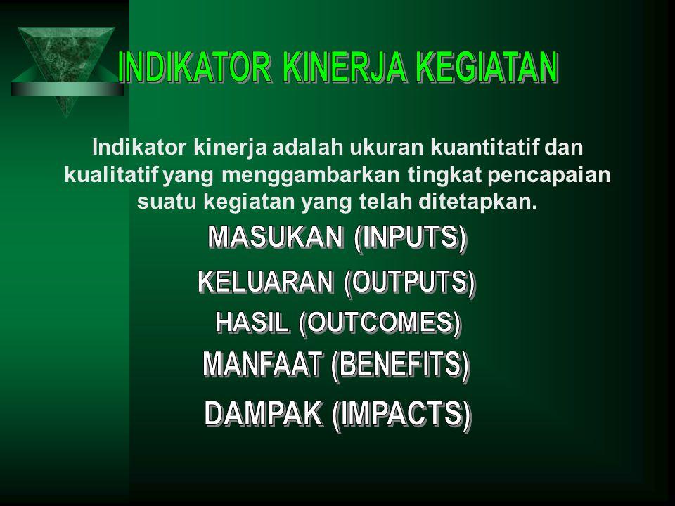 Indikator kinerja adalah ukuran kuantitatif dan kualitatif yang menggambarkan tingkat pencapaian suatu kegiatan yang telah ditetapkan.