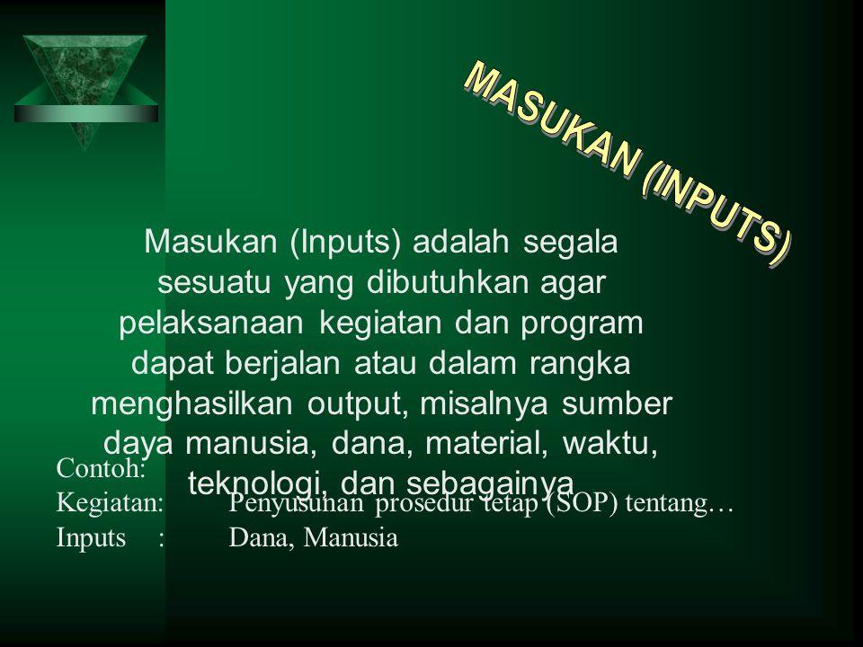 Masukan (Inputs) adalah segala sesuatu yang dibutuhkan agar pelaksanaan kegiatan dan program dapat berjalan atau dalam rangka menghasilkan output, mis