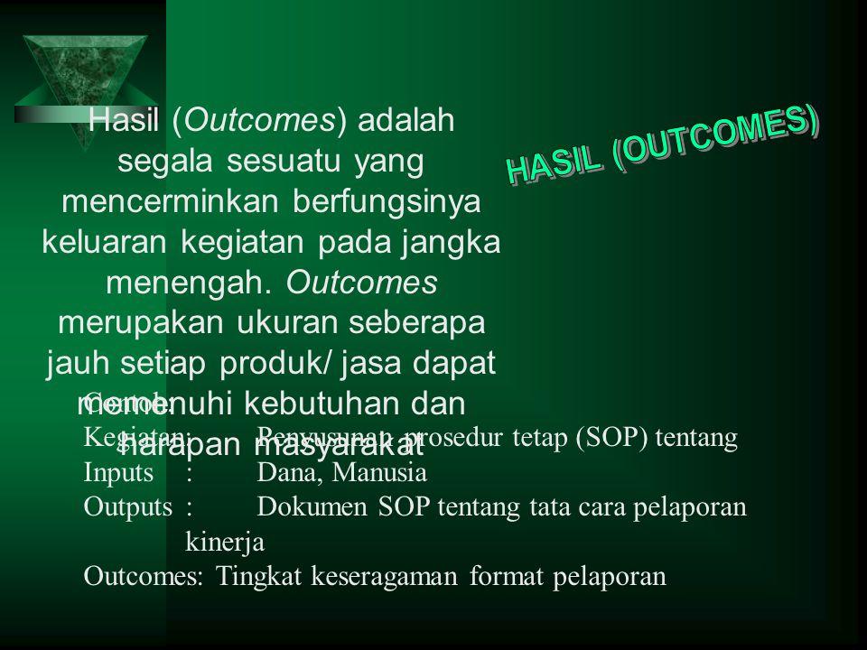 Hasil (Outcomes) adalah segala sesuatu yang mencerminkan berfungsinya keluaran kegiatan pada jangka menengah.