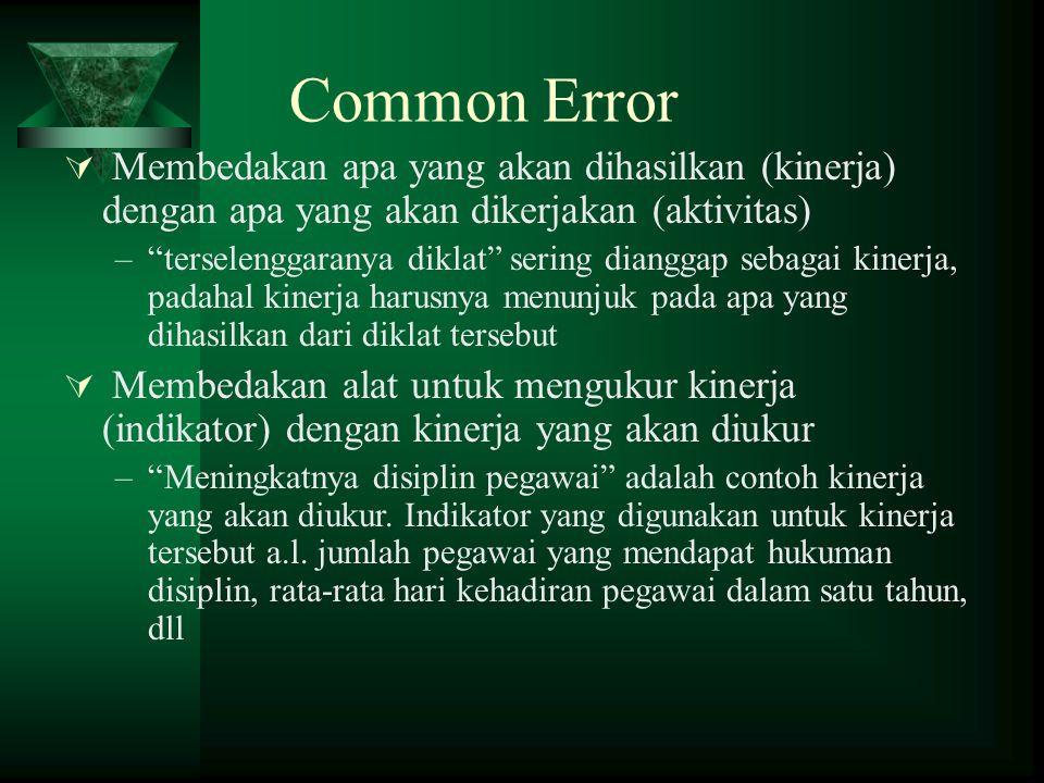 """Common Error  Membedakan apa yang akan dihasilkan (kinerja) dengan apa yang akan dikerjakan (aktivitas) –""""terselenggaranya diklat"""" sering dianggap se"""