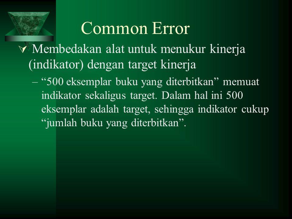 Common Error  Membedakan alat untuk menukur kinerja (indikator) dengan target kinerja – 500 eksemplar buku yang diterbitkan memuat indikator sekaligus target.
