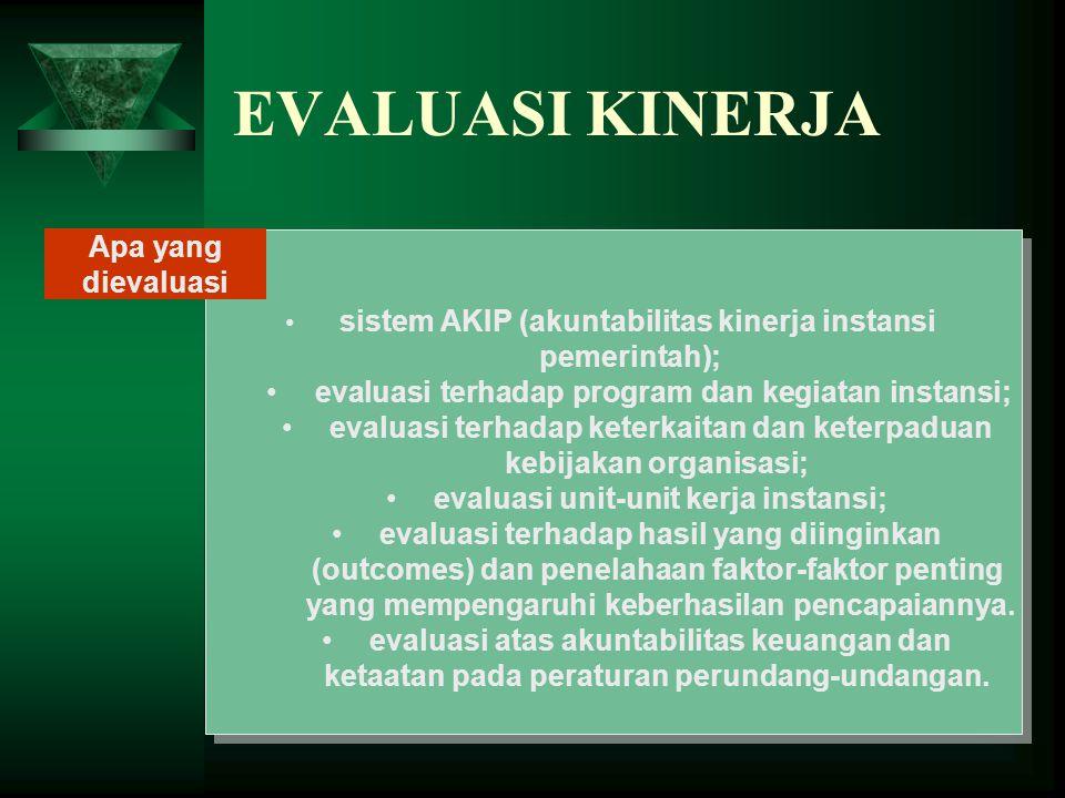 EVALUASI KINERJA sistem AKIP (akuntabilitas kinerja instansi pemerintah); evaluasi terhadap program dan kegiatan instansi; evaluasi terhadap keterkait