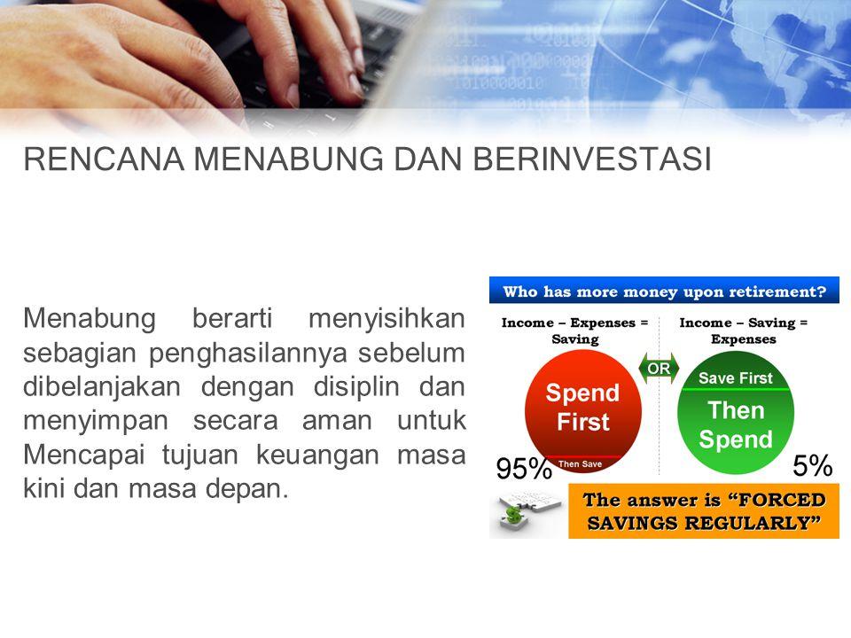 RENCANA MENABUNG DAN BERINVESTASI Menabung berarti menyisihkan sebagian penghasilannya sebelum dibelanjakan dengan disiplin dan menyimpan secara aman untuk Mencapai tujuan keuangan masa kini dan masa depan.