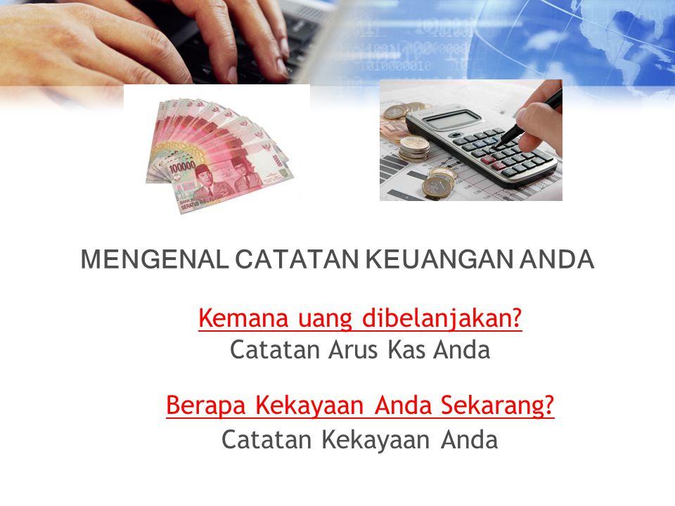 Berapa Kekayaan Anda Sekarang? Catatan Kekayaan Anda Kemana uang dibelanjakan? Catatan Arus Kas Anda MENGENAL CATATAN KEUANGAN ANDA
