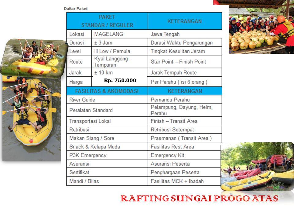 Rp. 750.000 RAFTING SUNGAI PROGO ATAS