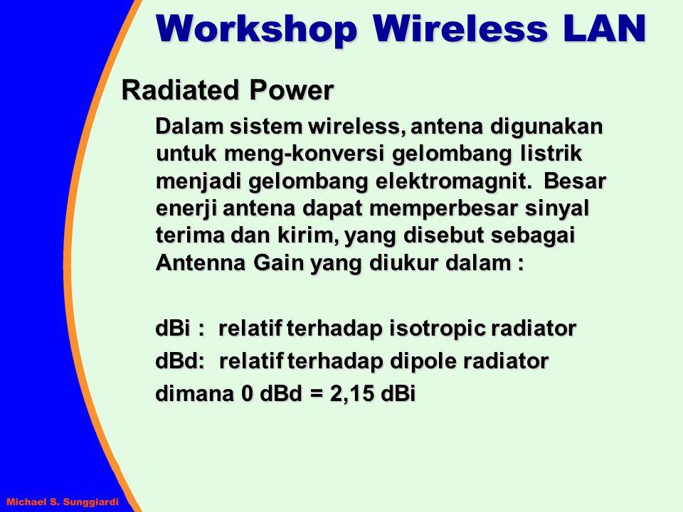 Radiated Power Dalam sistem wireless, antena digunakan untuk meng-konversi gelombang listrik menjadi gelombang elektromagnit. Besar enerji antena dapa