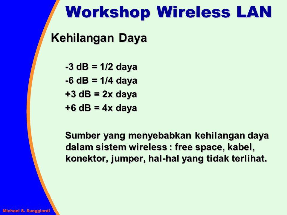 Kehilangan Daya -3 dB = 1/2 daya -6 dB = 1/4 daya +3 dB = 2x daya +6 dB = 4x daya Sumber yang menyebabkan kehilangan daya dalam sistem wireless : free