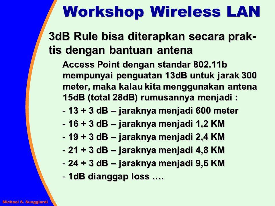 3dB Rule bisa diterapkan secara prak- tis dengan bantuan antena Access Point dengan standar 802.11b mempunyai penguatan 13dB untuk jarak 300 meter, ma