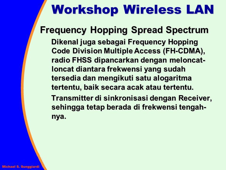 Frequency Hopping Spread Spectrum Dikenal juga sebagai Frequency Hopping Code Division Multiple Access (FH-CDMA), radio FHSS dipancarkan dengan melonc