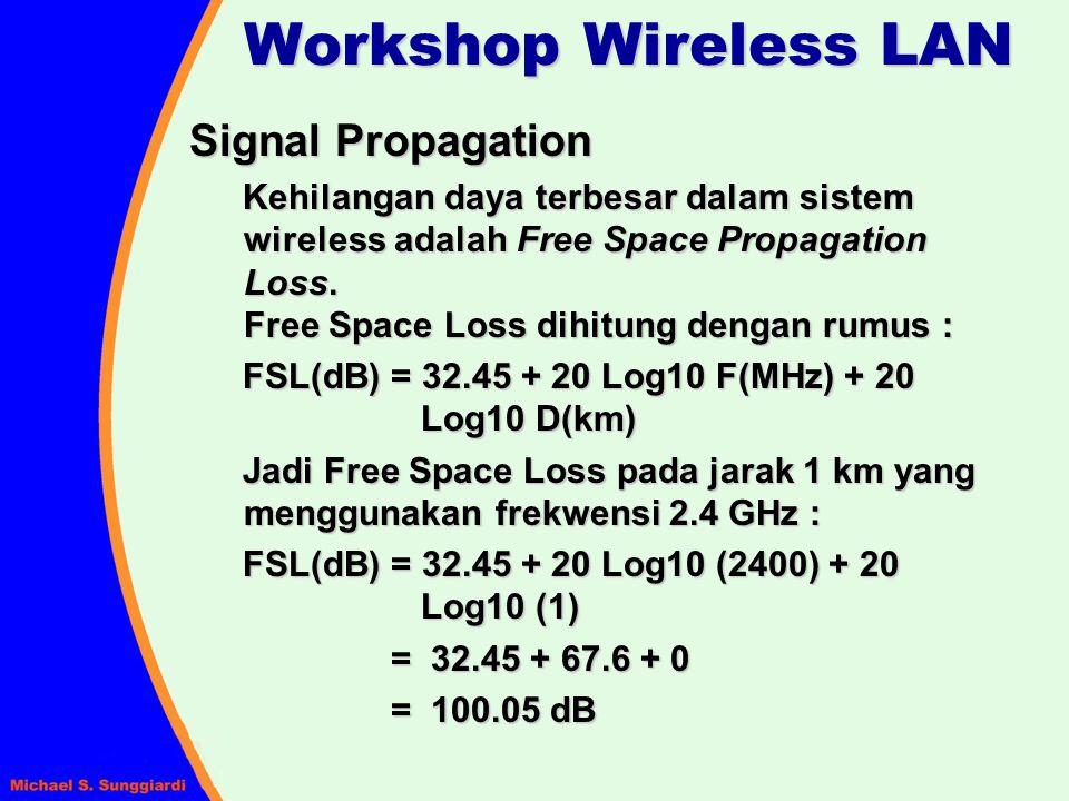 Signal Propagation Kehilangan daya terbesar dalam sistem wireless adalah Free Space Propagation Loss. Free Space Loss dihitung dengan rumus : FSL(dB)