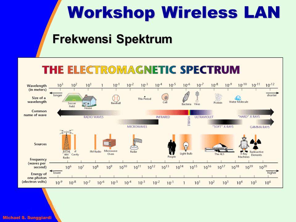 Line of Sight Menerapkan Line of Sight (LOS) antara antena radio pengirim dan penerima merupakan hal paling penting Ada dua jenis LOS yang kita harus perhatikan : Optical LOS – kemampuan untuk saling melihat antara satu tempat dengan tempat lainnya Radio LOS – kemampuan radio penerima untuk 'melihat' sinyal yang dipancarkan Workshop Wireless LAN