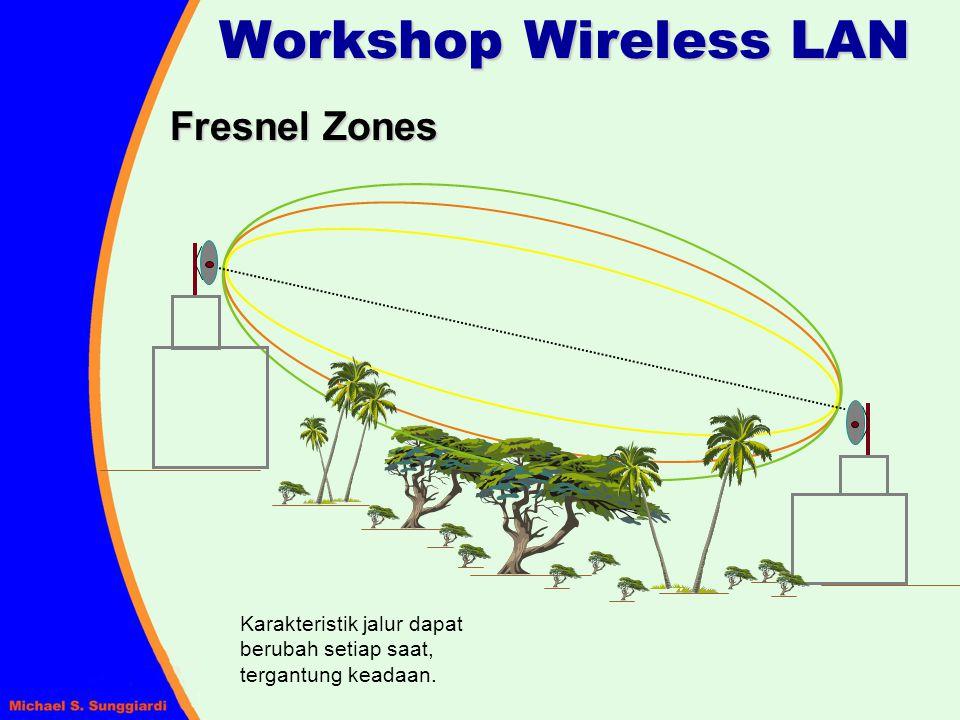 Fresnel Zones Workshop Wireless LAN Karakteristik jalur dapat berubah setiap saat, tergantung keadaan.