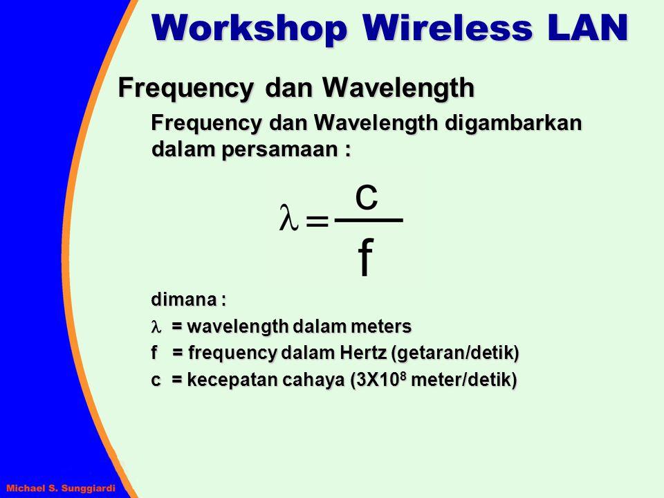 Frequency dan Wavelength Contoh perhitungan panjang gelombang (wavelength) untuk frekwensi 2,4GHz : Jadi panjang gelombang-nya hanya 12,5 cm Workshop Wireless LAN