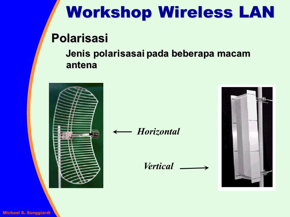 Polarisasi Jenis polarisasai pada beberapa macam antena Horizontal Vertical