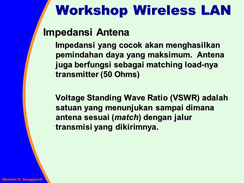 Impedansi Antena Impedansi yang cocok akan menghasilkan pemindahan daya yang maksimum. Antena juga berfungsi sebagai matching load-nya transmitter (50