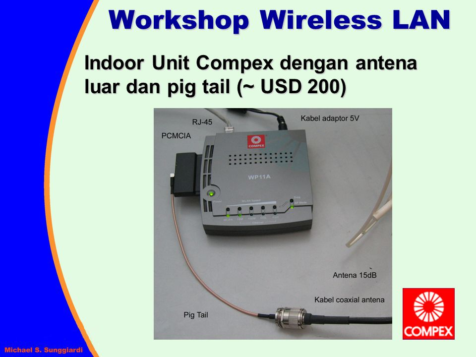 Workshop Wireless LAN Indoor Unit Compex dengan antena luar dan pig tail (~ USD 200)