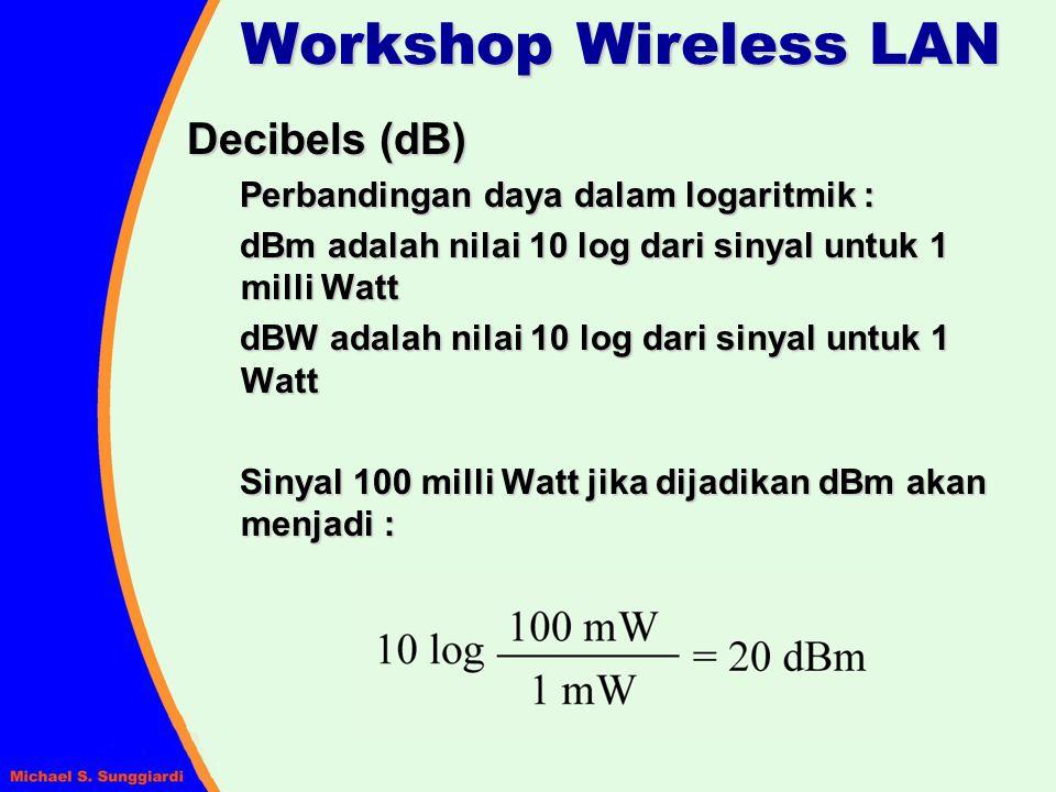 Pola Radiasi Antena Parameter umum : main lobe (boresight) half-power beamwidth (HPBW) front-back ratio (F/B) pattern nulls Biasanya, diukur pada dua keadaan : – Vector electric field yang mengacu pada E-field – Vector magnetic field yang mengacu pada H-field Workshop Wireless LAN