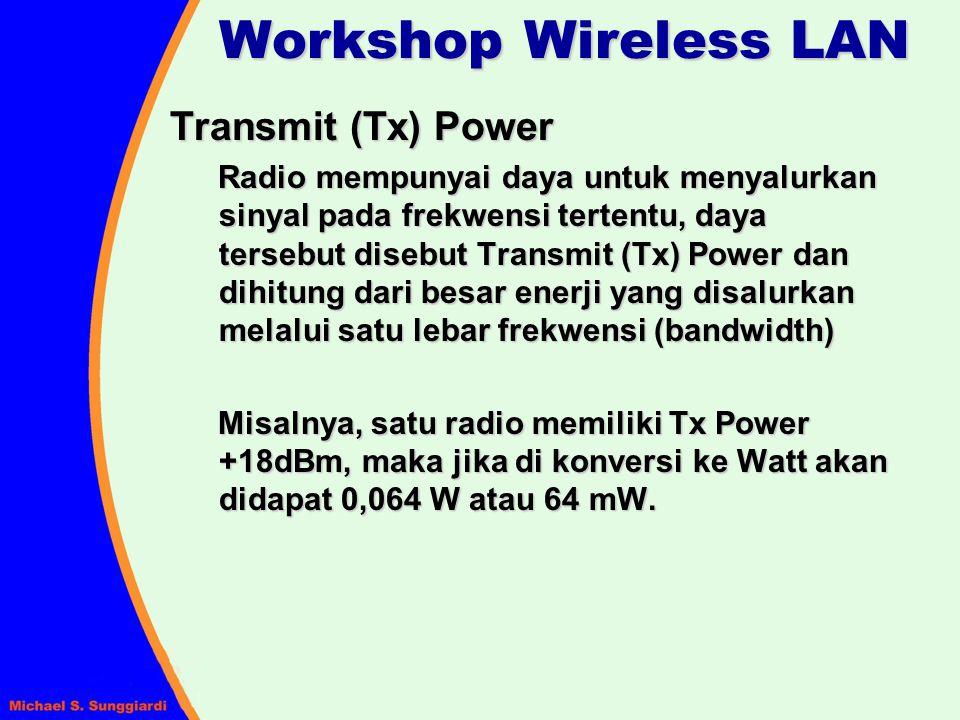 Workshop Wireless LAN Perangkat Site Survey 1.Spectrum Analyzer (3GHz) untuk mengukur daya transmit, sinyal Input, keadaan sinyal RF di tempat yang bersang- kutan dan interferensi yang terjadi.
