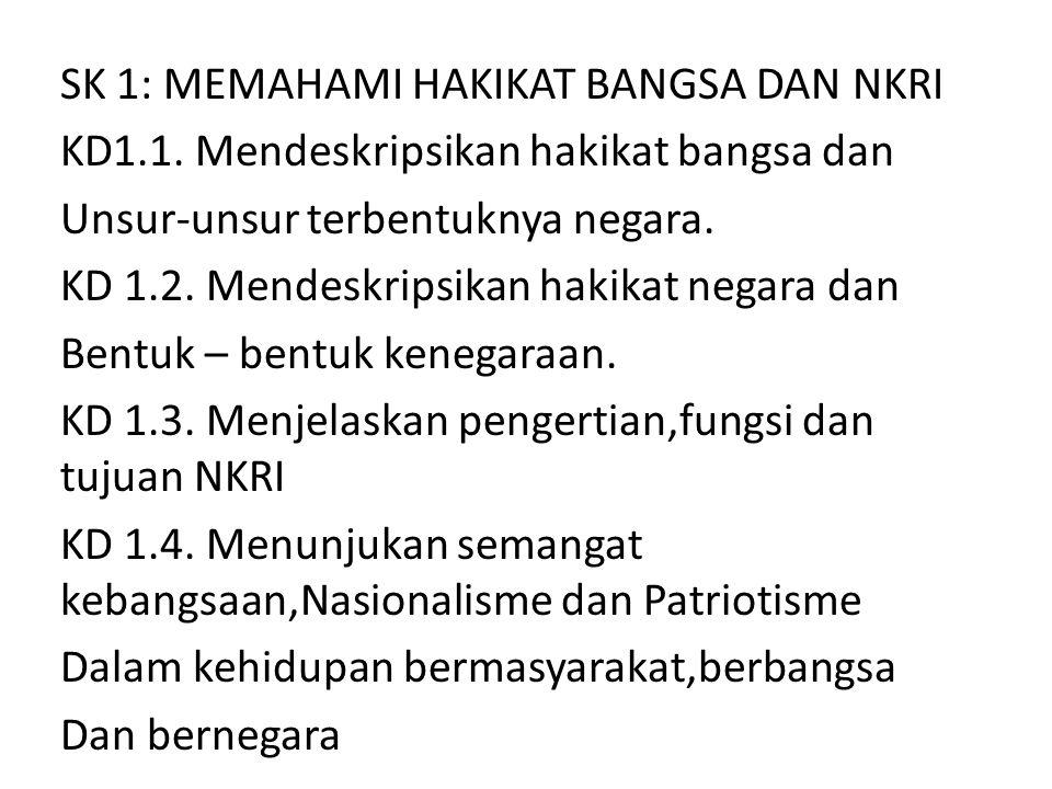 SK 1: MEMAHAMI HAKIKAT BANGSA DAN NKRI KD1.1. Mendeskripsikan hakikat bangsa dan Unsur-unsur terbentuknya negara. KD 1.2. Mendeskripsikan hakikat nega