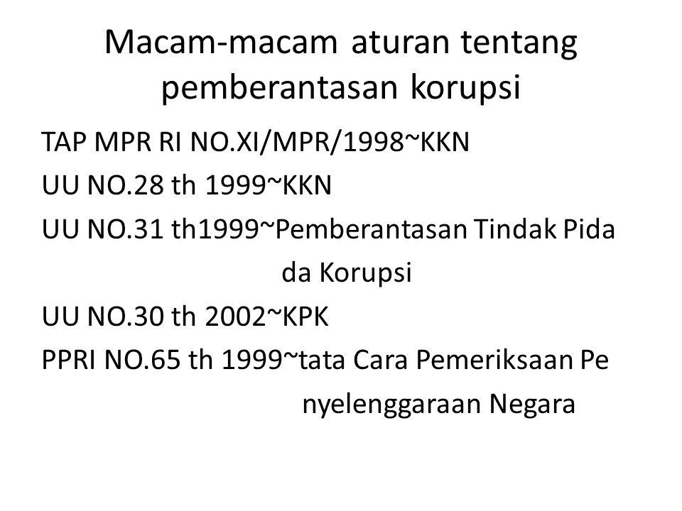 Macam-macam aturan tentang pemberantasan korupsi TAP MPR RI NO.XI/MPR/1998~KKN UU NO.28 th 1999~KKN UU NO.31 th1999~Pemberantasan Tindak Pida da Korup