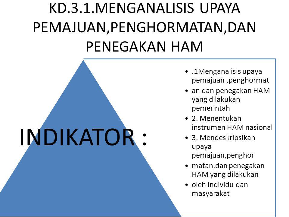 KD.3.1.MENGANALISIS UPAYA PEMAJUAN,PENGHORMATAN,DAN PENEGAKAN HAM.1Menganalisis upaya pemajuan,penghormat an dan penegakan HAM yang dilakukan pemerint