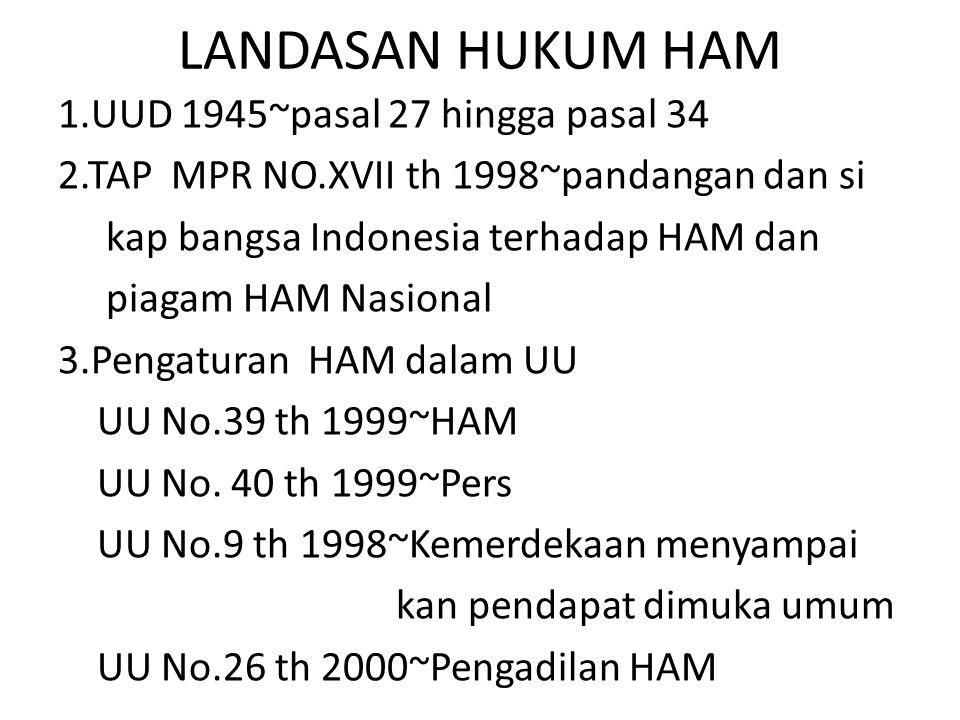 LANDASAN HUKUM HAM 1.UUD 1945~pasal 27 hingga pasal 34 2.TAP MPR NO.XVII th 1998~pandangan dan si kap bangsa Indonesia terhadap HAM dan piagam HAM Nas