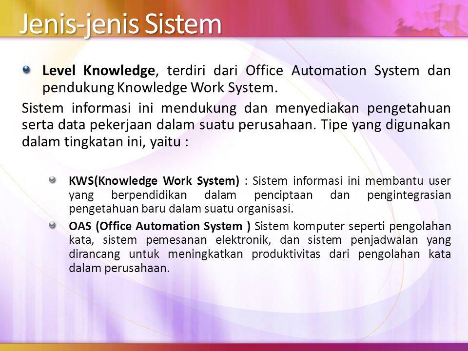 Jenis-jenis Sistem Level Knowledge, terdiri dari Office Automation System dan pendukung Knowledge Work System. Sistem informasi ini mendukung dan meny