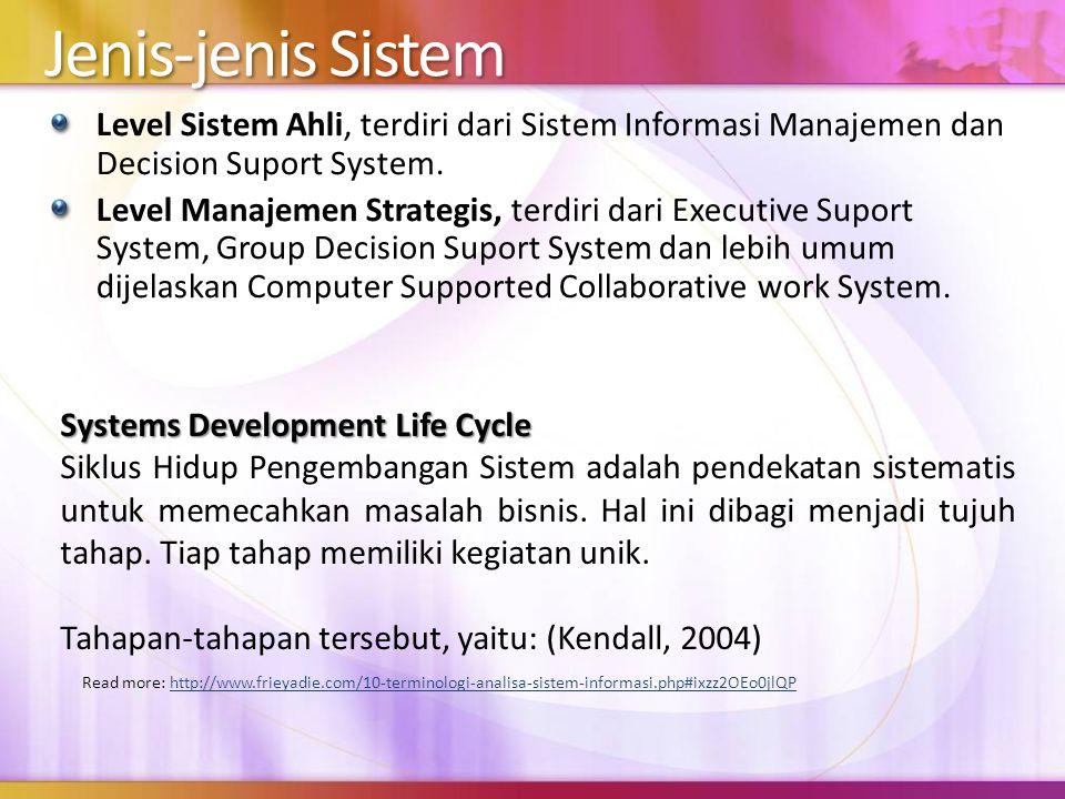 Jenis-jenis Sistem Level Sistem Ahli, terdiri dari Sistem Informasi Manajemen dan Decision Suport System. Level Manajemen Strategis, terdiri dari Exec