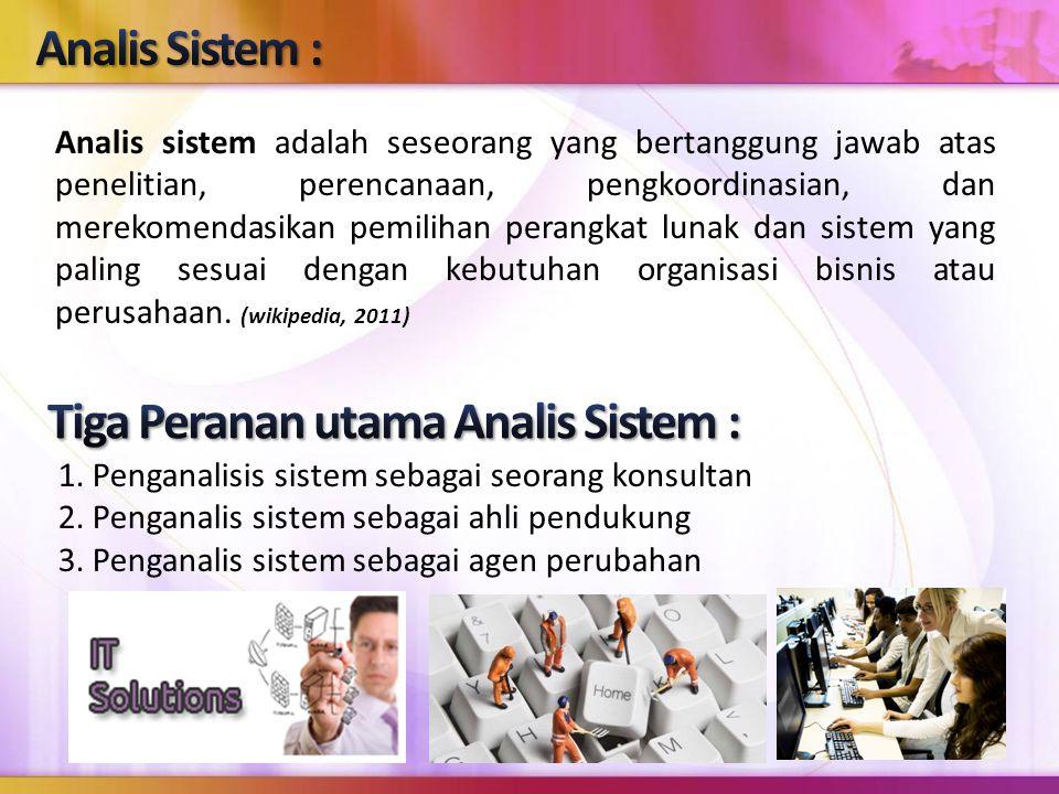 1. Penganalisis sistem sebagai seorang konsultan 2. Penganalis sistem sebagai ahli pendukung 3. Penganalis sistem sebagai agen perubahan Analis sistem