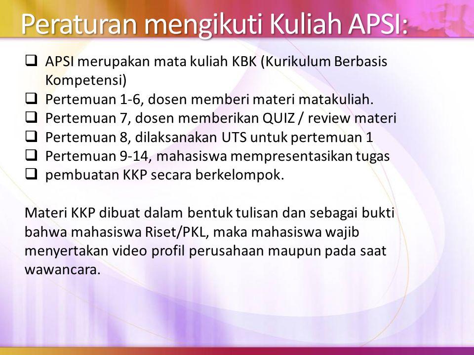 Peraturan mengikuti Kuliah APSI:  APSI merupakan mata kuliah KBK (Kurikulum Berbasis Kompetensi)  Pertemuan 1-6, dosen memberi materi matakuliah. 