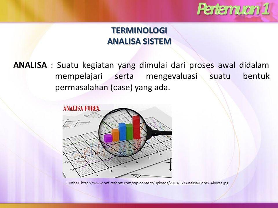 TERMINOLOGI ANALISA SISTEM ANALISA : Suatu kegiatan yang dimulai dari proses awal didalam mempelajari serta mengevaluasi suatu bentuk permasalahan (ca