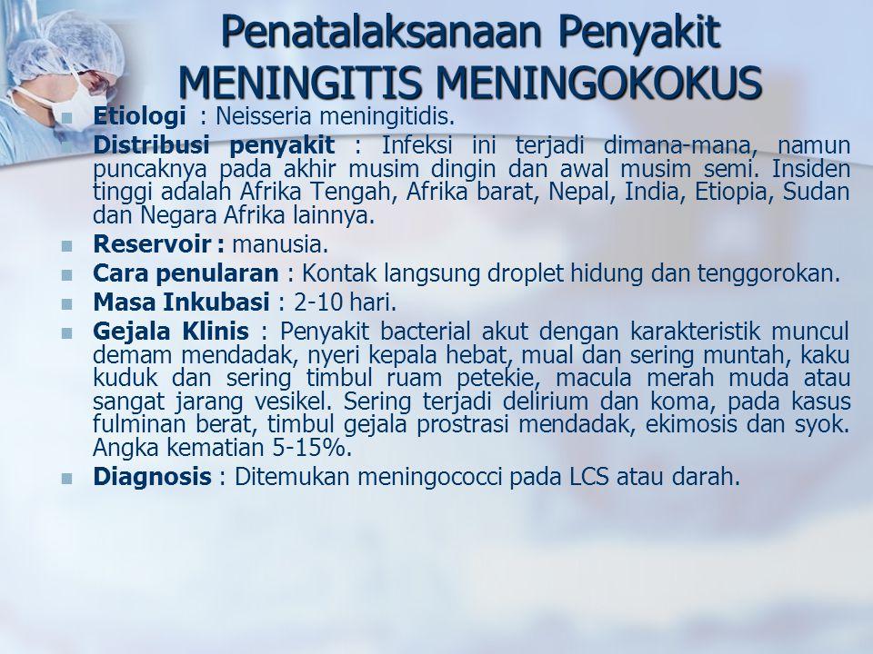 Penatalaksanaan Penyakit MENINGITIS MENINGOKOKUS Etiologi : Neisseria meningitidis.