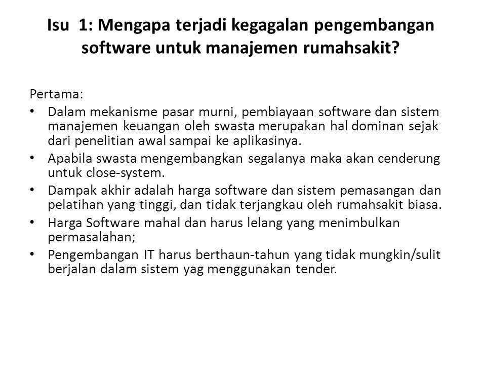 Isu 1: Mengapa terjadi kegagalan pengembangan software untuk manajemen rumahsakit? Pertama: Dalam mekanisme pasar murni, pembiayaan software dan siste
